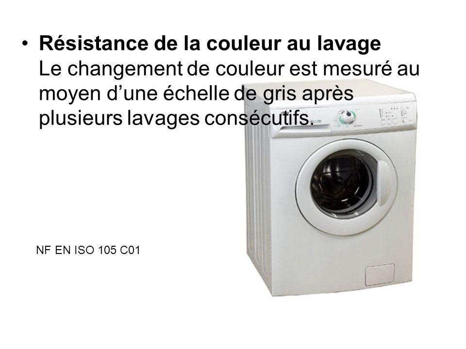 Résistance de la couleur au lavage Le changement de couleur est mesuré au moyen dune échelle de gris après plusieurs lavages consécutifs. NF EN ISO 10