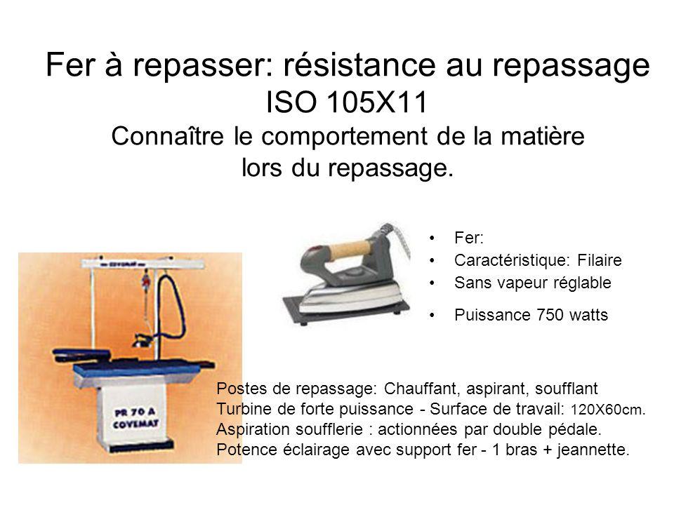 Fer à repasser: résistance au repassage ISO 105X11 Connaître le comportement de la matière lors du repassage. Fer: Caractéristique: Filaire Sans vapeu