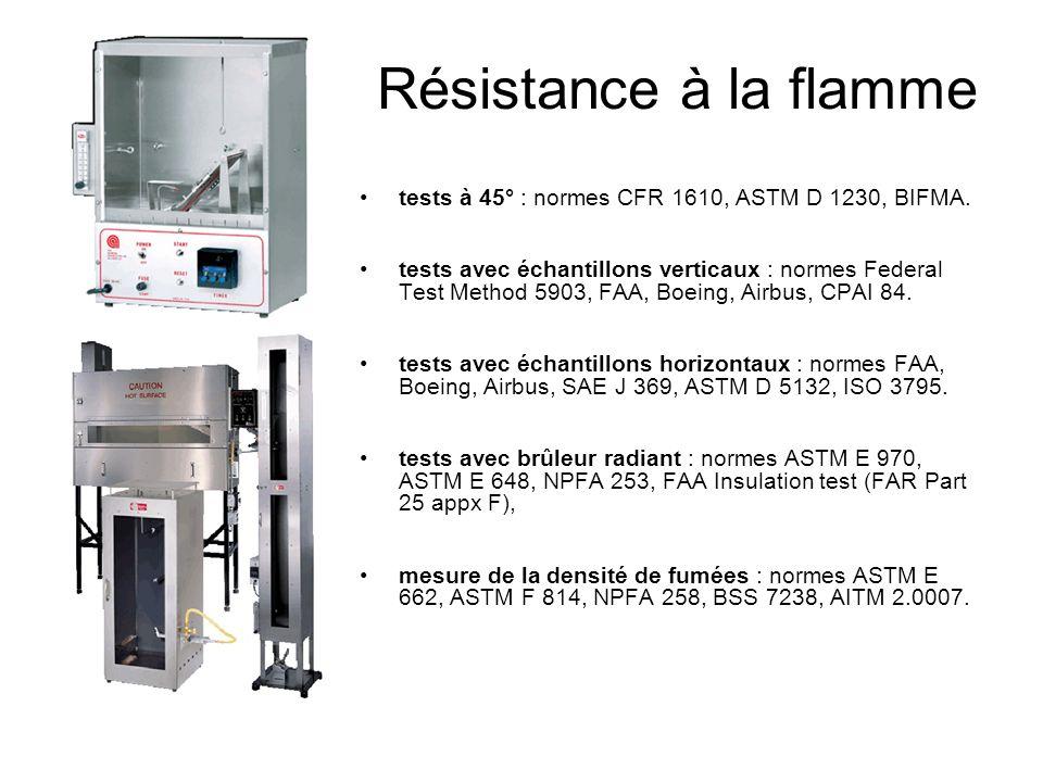 Résistance à la flamme tests à 45° : normes CFR 1610, ASTM D 1230, BIFMA. tests avec échantillons verticaux : normes Federal Test Method 5903, FAA, Bo