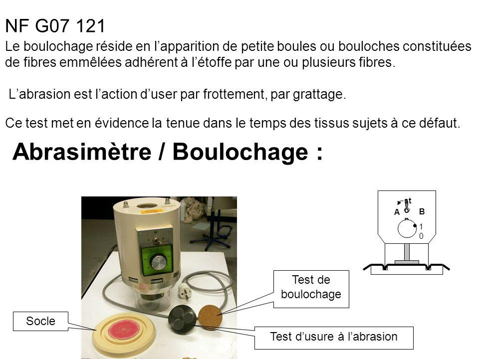 Abrasimètre / Boulochage : test