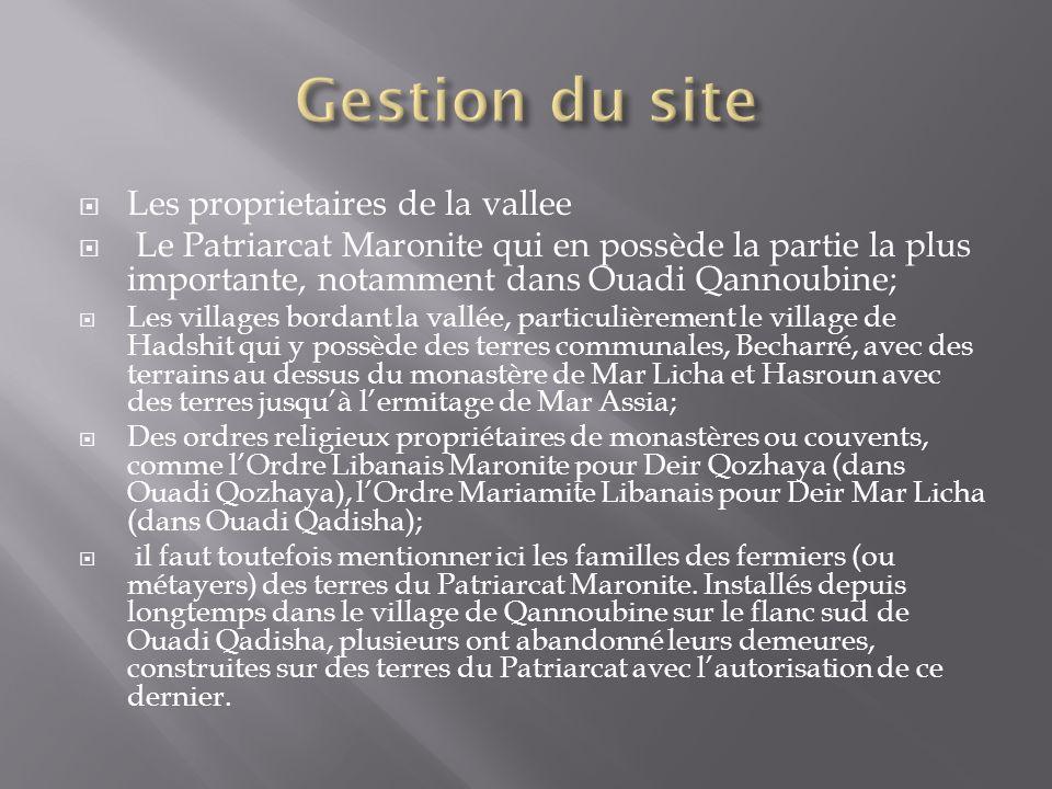 Les proprietaires de la vallee Le Patriarcat Maronite qui en possède la partie la plus importante, notamment dans Ouadi Qannoubine; Les villages bordant la vallée, particulièrement le village de Hadshit qui y possède des terres communales, Becharré, avec des terrains au dessus du monastère de Mar Licha et Hasroun avec des terres jusquà lermitage de Mar Assia; Des ordres religieux propriétaires de monastères ou couvents, comme lOrdre Libanais Maronite pour Deir Qozhaya (dans Ouadi Qozhaya), lOrdre Mariamite Libanais pour Deir Mar Licha (dans Ouadi Qadisha); il faut toutefois mentionner ici les familles des fermiers (ou métayers) des terres du Patriarcat Maronite.