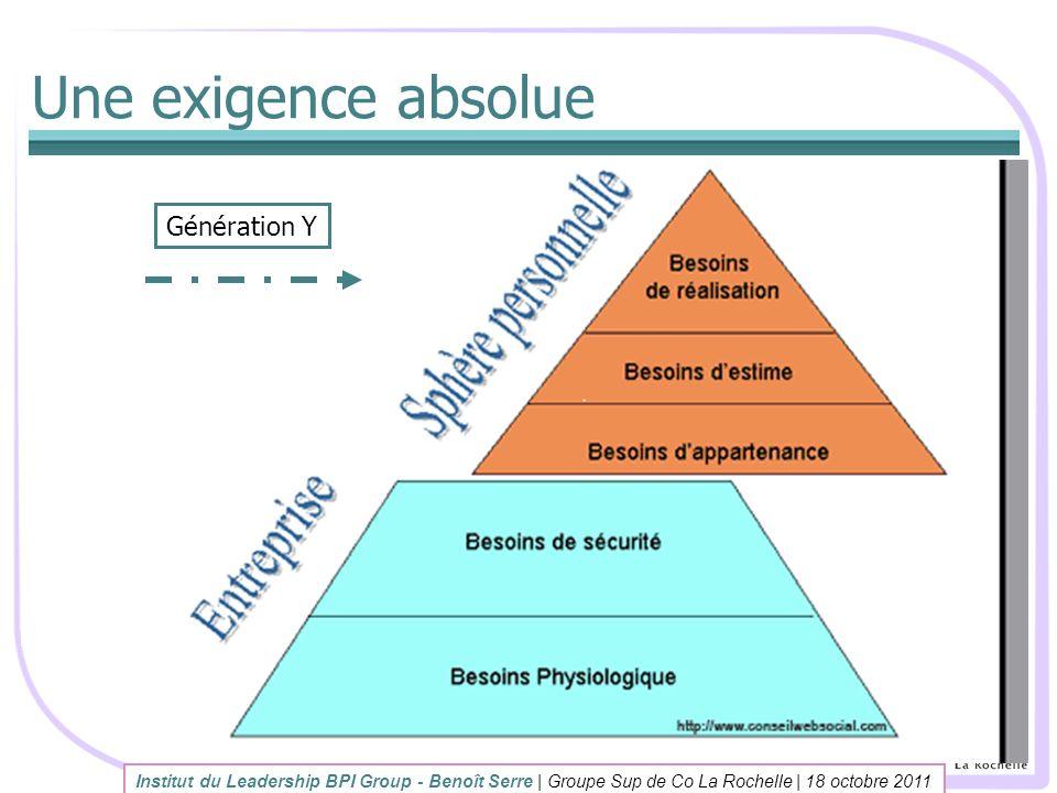 Une exigence absolue Institut du Leadership BPI Group - Benoît Serre | Groupe Sup de Co La Rochelle | 18 octobre 2011 Génération Y
