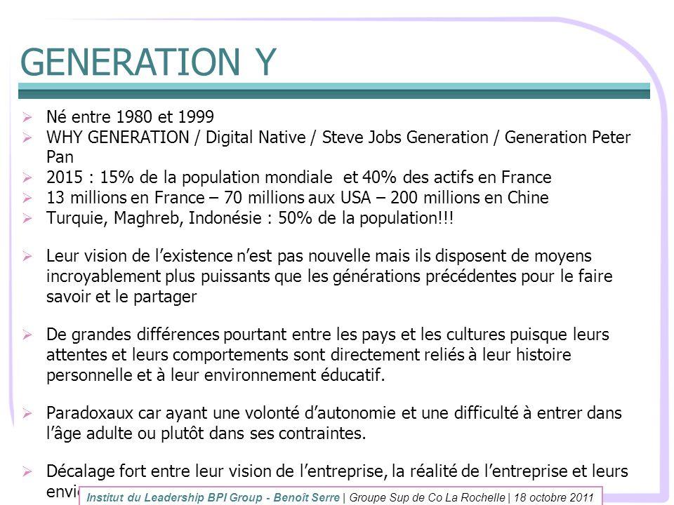 GENERATION Y Né entre 1980 et 1999 WHY GENERATION / Digital Native / Steve Jobs Generation / Generation Peter Pan 2015 : 15% de la population mondiale