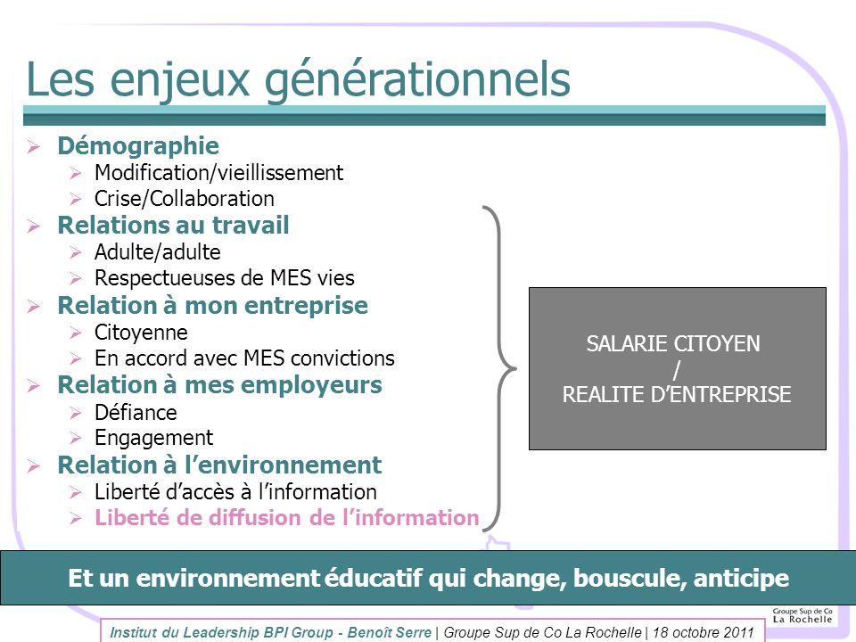 Les enjeux générationnels Démographie Modification/vieillissement Crise/Collaboration Relations au travail Adulte/adulte Respectueuses de MES vies Rel
