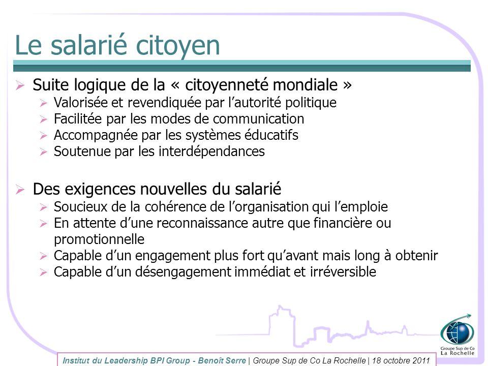 Le salarié citoyen Suite logique de la « citoyenneté mondiale » Valorisée et revendiquée par lautorité politique Facilitée par les modes de communicat