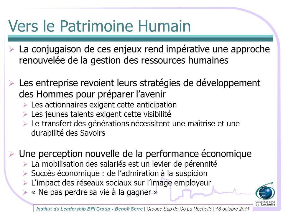 Vers le Patrimoine Humain La conjugaison de ces enjeux rend impérative une approche renouvelée de la gestion des ressources humaines Les entreprise re