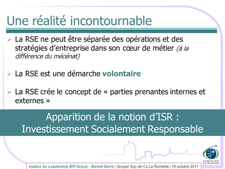 Une réalité incontournable La RSE ne peut être séparée des opérations et des stratégies dentreprise dans son cœur de métier (à la différence du mécéna