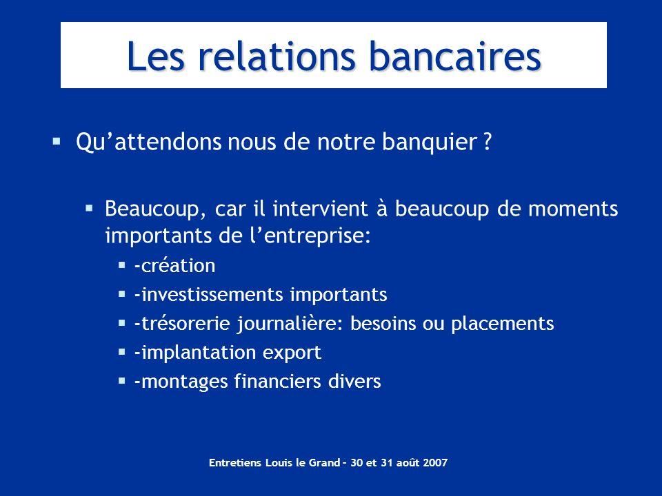 Entretiens Louis le Grand – 30 et 31 août 2007 Les relations bancaires Quattendons nous de notre banquier ? Beaucoup, car il intervient à beaucoup de