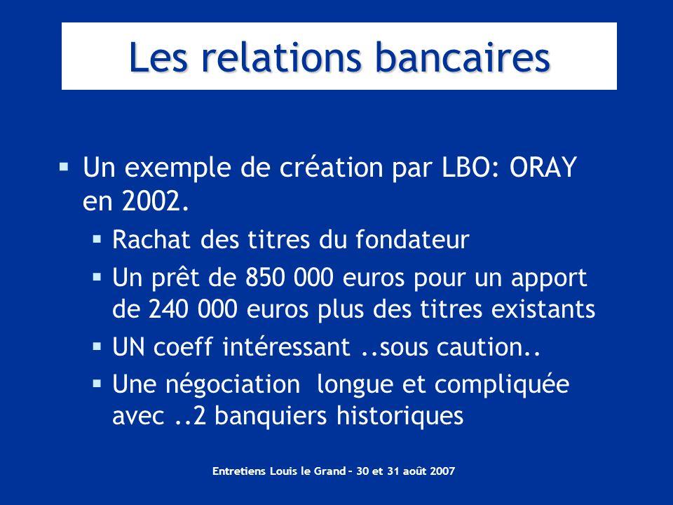 Entretiens Louis le Grand – 30 et 31 août 2007 Les relations bancaires Un exemple de création par LBO: ORAY en 2002. Rachat des titres du fondateur Un