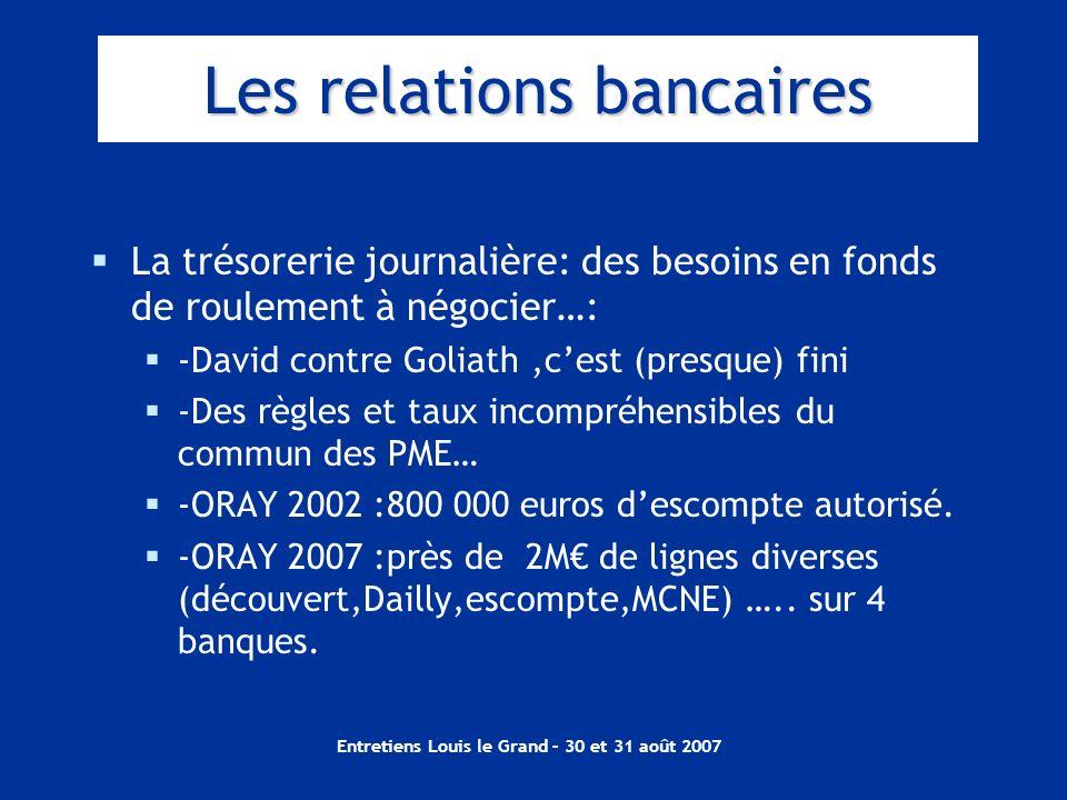 Entretiens Louis le Grand – 30 et 31 août 2007 Les relations bancaires La trésorerie journalière: des besoins en fonds de roulement à négocier…: -Davi