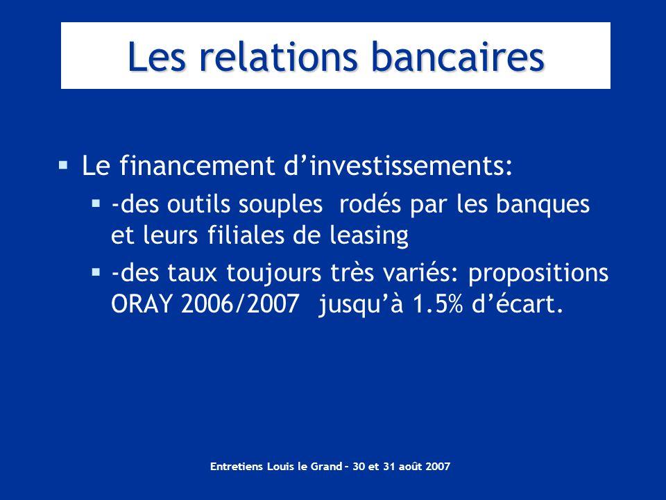Entretiens Louis le Grand – 30 et 31 août 2007 Les relations bancaires Le financement dinvestissements: -des outils souples rodés par les banques et l