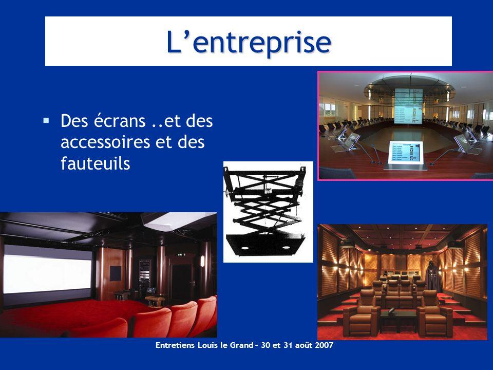 Entretiens Louis le Grand – 30 et 31 août 2007 Lentreprise Des écrans..et des accessoires et des fauteuils