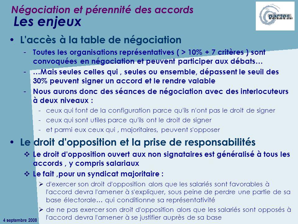 4 septembre 2008 L'accès à la table de négociation - Toutes les organisations représentatives ( > 10% + 7 critères ) sont convoquées en négociation et