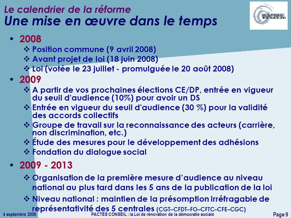 4 septembre 2008PACTES CONSEIL : la Loi de rénovation de la démocratie sociale Page 9 Le calendrier de la réforme 2008 Position commune (9 avril 2008)