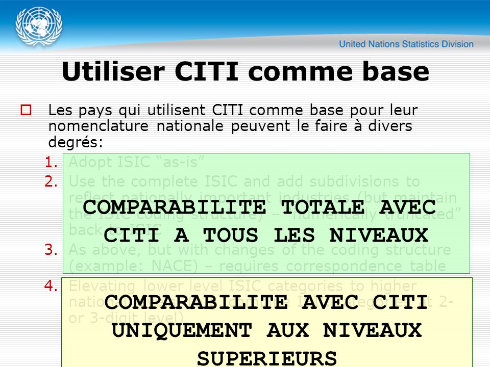 Utiliser CITI comme base Les pays qui utilisent CITI comme base pour leur nomenclature nationale peuvent le faire à divers degrés: 1.Adopt ISIC as-is 2.Use the complete ISIC and add subdivisions to reflect nationally important industries (but maintain the ISIC coding structure) – numerically truncated back to ISIC 3.As above, but with changes of the coding structure (example: NACE) – requires correspondence table 4.Elevating lower level ISIC categories to higher national levels, (e.g.
