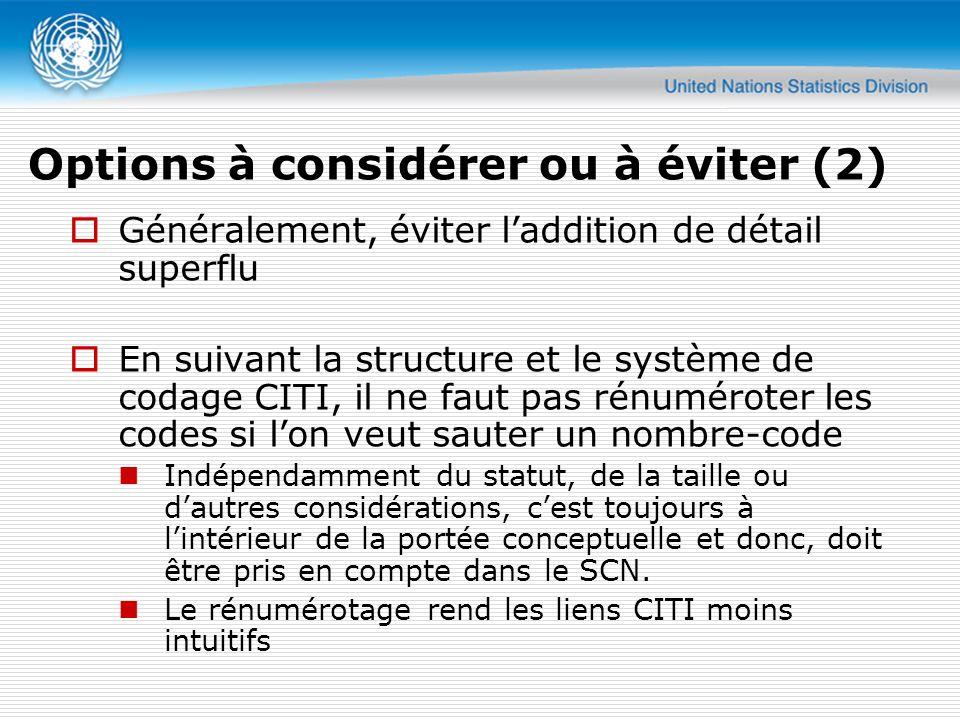 Généralement, éviter laddition de détail superflu En suivant la structure et le système de codage CITI, il ne faut pas rénuméroter les codes si lon veut sauter un nombre-code Indépendamment du statut, de la taille ou dautres considérations, cest toujours à lintérieur de la portée conceptuelle et donc, doit être pris en compte dans le SCN.