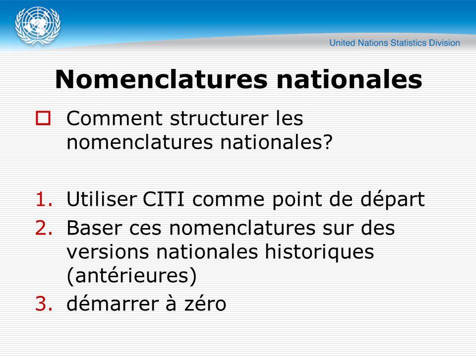 Nomenclatures nationales Comment structurer les nomenclatures nationales? 1.Utiliser CITI comme point de départ 2.Baser ces nomenclatures sur des vers