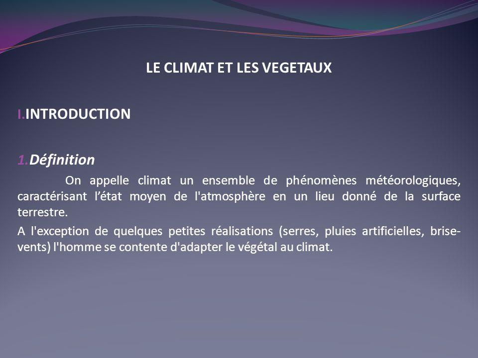 LE CLIMAT ET LES VEGETAUX I.INTRODUCTION 1.