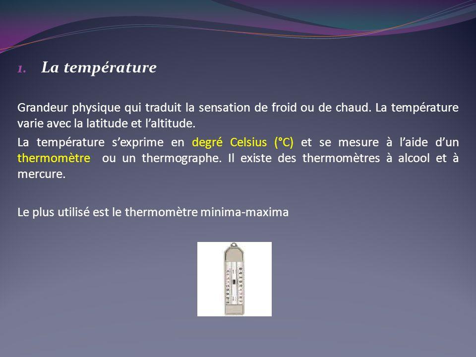 1.La température Grandeur physique qui traduit la sensation de froid ou de chaud.