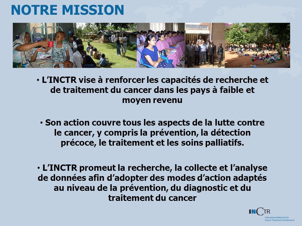 NOTRE MISSION LINCTR vise à renforcer les capacités de recherche et de traitement du cancer dans les pays à faible et moyen revenu Son action couvre tous les aspects de la lutte contre le cancer, y compris la prévention, la détection précoce, le traitement et les soins palliatifs.