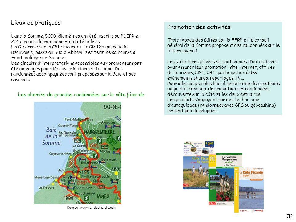 Lieux de pratiques Promotion des activités Trois topoguides édités par la FFRP et le conseil général de la Somme proposent des randonnées sur le litto