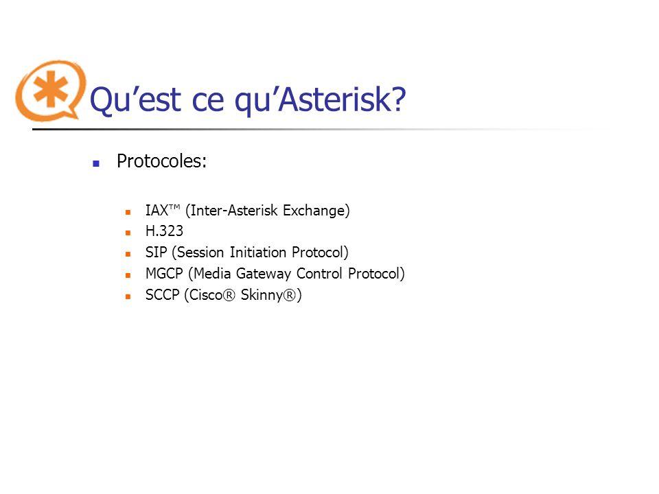Quest ce quAsterisk? Protocoles: IAX (Inter-Asterisk Exchange) H.323 SIP (Session Initiation Protocol) MGCP (Media Gateway Control Protocol) SCCP (Cis