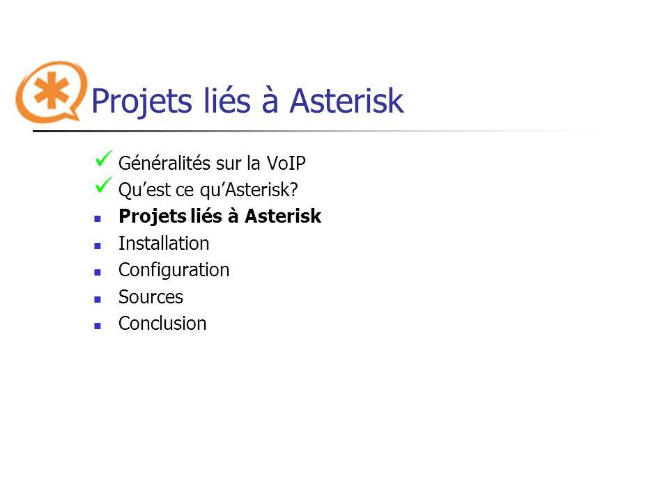 Projets liés à Asterisk Généralités sur la VoIP Quest ce quAsterisk? Projets liés à Asterisk Installation Configuration Sources Conclusion