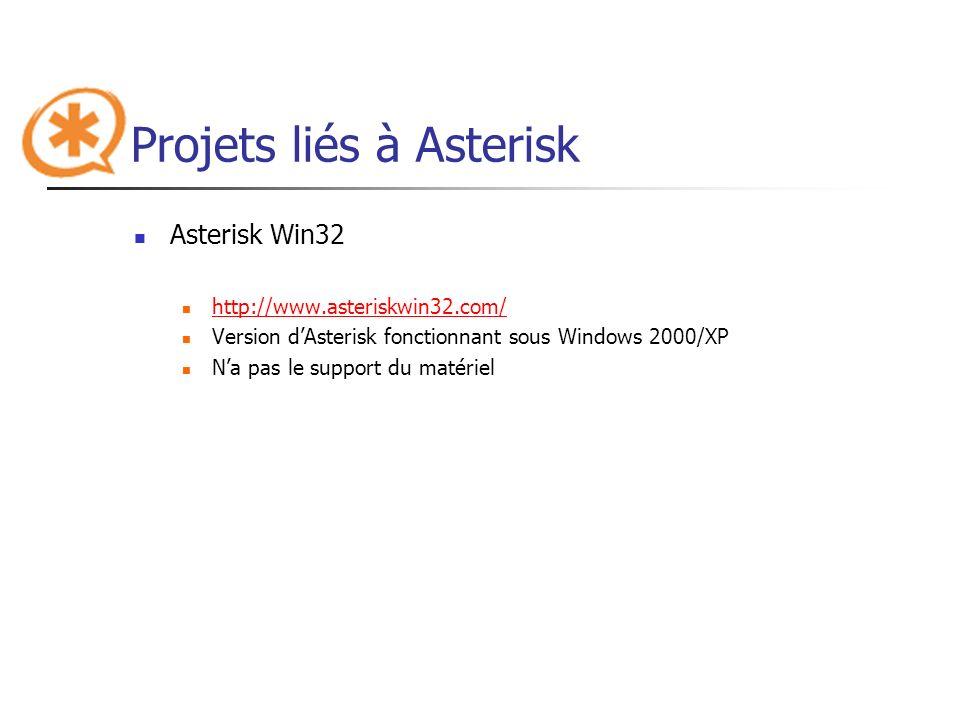 Projets liés à Asterisk Asterisk Win32 http://www.asteriskwin32.com/ Version dAsterisk fonctionnant sous Windows 2000/XP Na pas le support du matériel