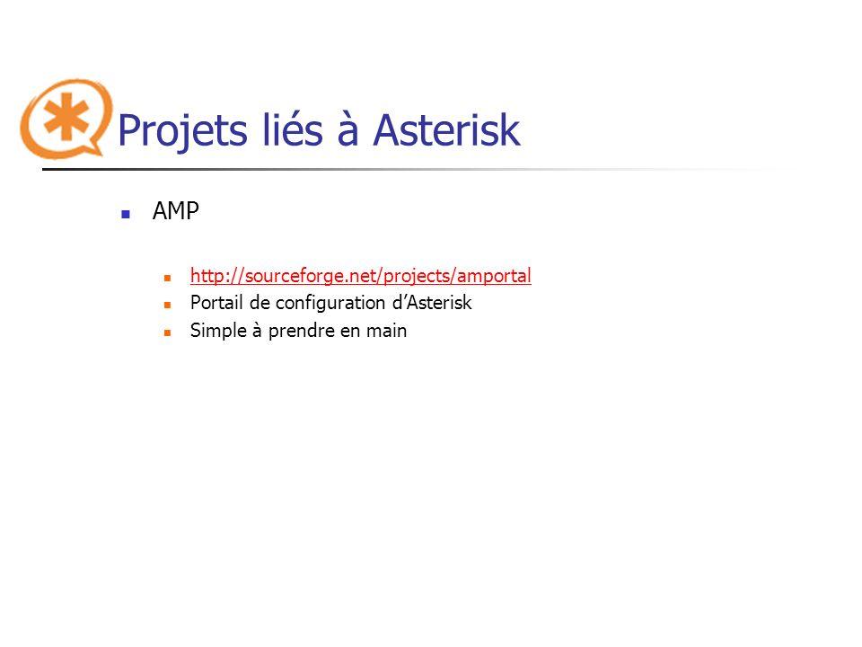 Projets liés à Asterisk AMP http://sourceforge.net/projects/amportal Portail de configuration dAsterisk Simple à prendre en main