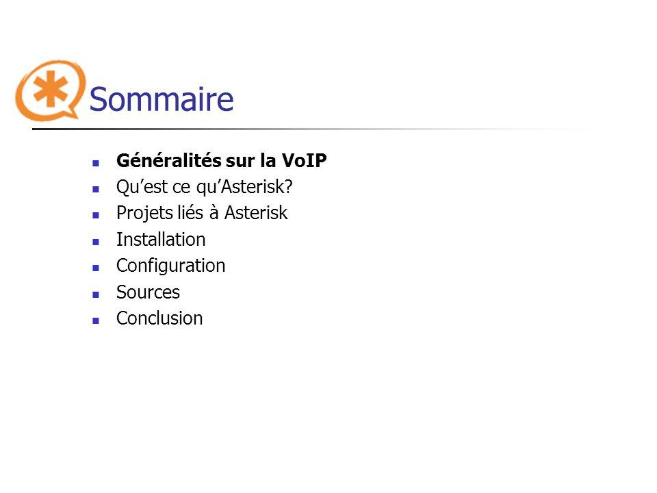 Sommaire Généralités sur la VoIP Quest ce quAsterisk? Projets liés à Asterisk Installation Configuration Sources Conclusion