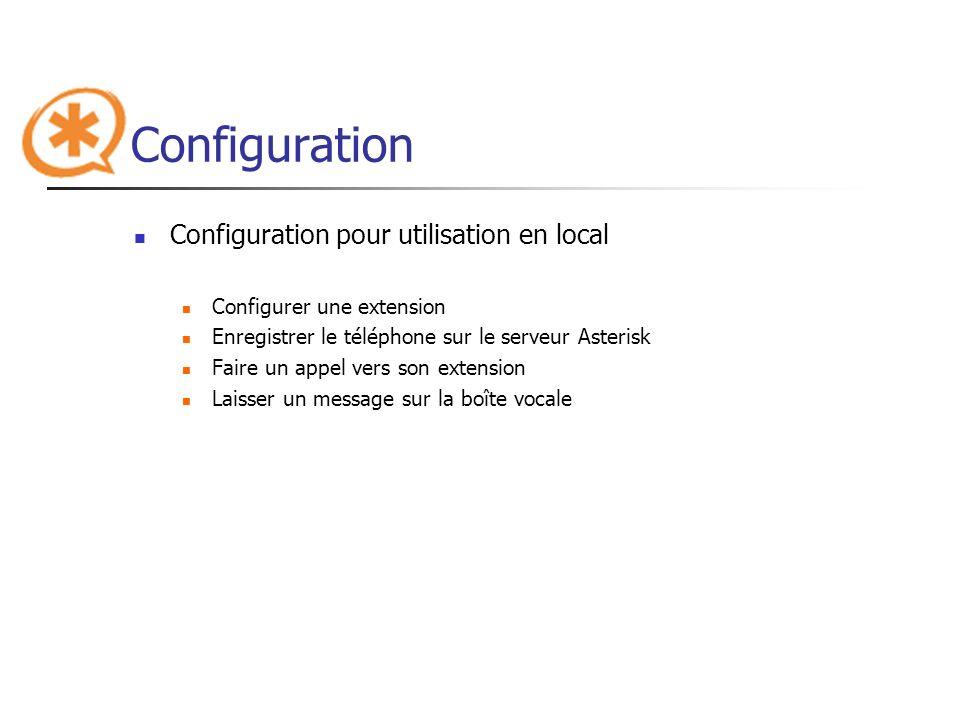 Configuration Configuration pour utilisation en local Configurer une extension Enregistrer le téléphone sur le serveur Asterisk Faire un appel vers so