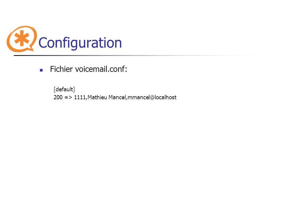 Configuration Fichier voicemail.conf: [default] 200 => 1111,Mathieu Mancel,mmancel@localhost