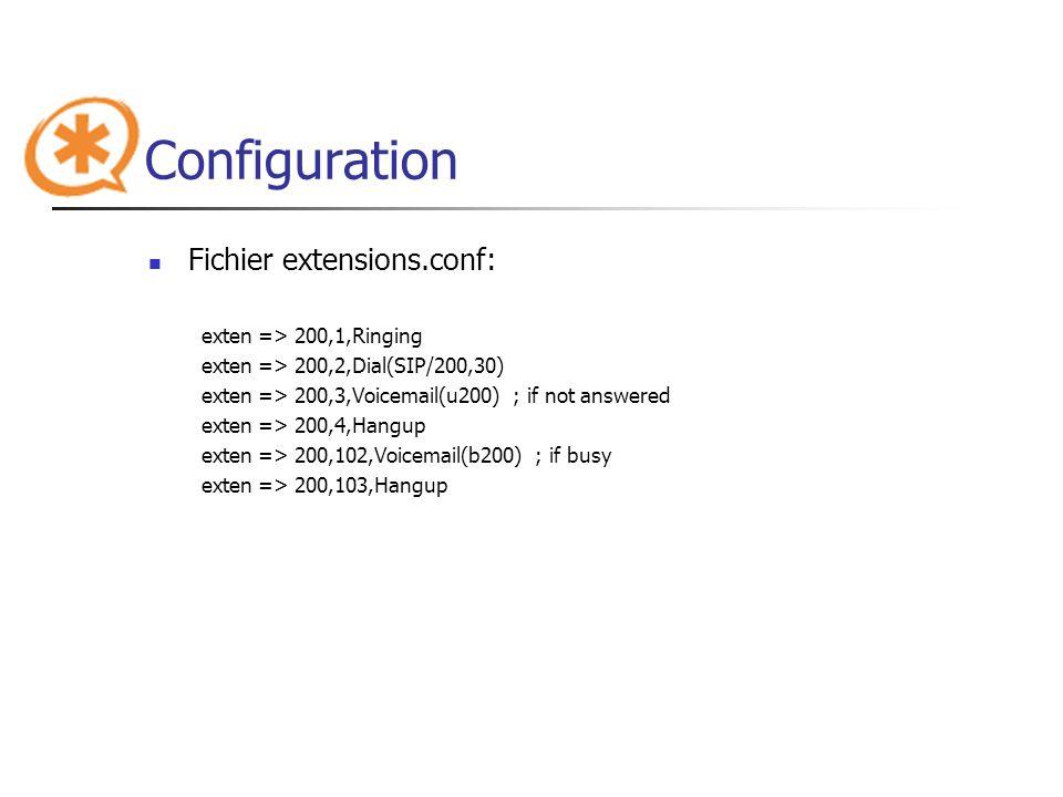 Configuration Fichier extensions.conf: exten => 200,1,Ringing exten => 200,2,Dial(SIP/200,30) exten => 200,3,Voicemail(u200) ; if not answered exten =