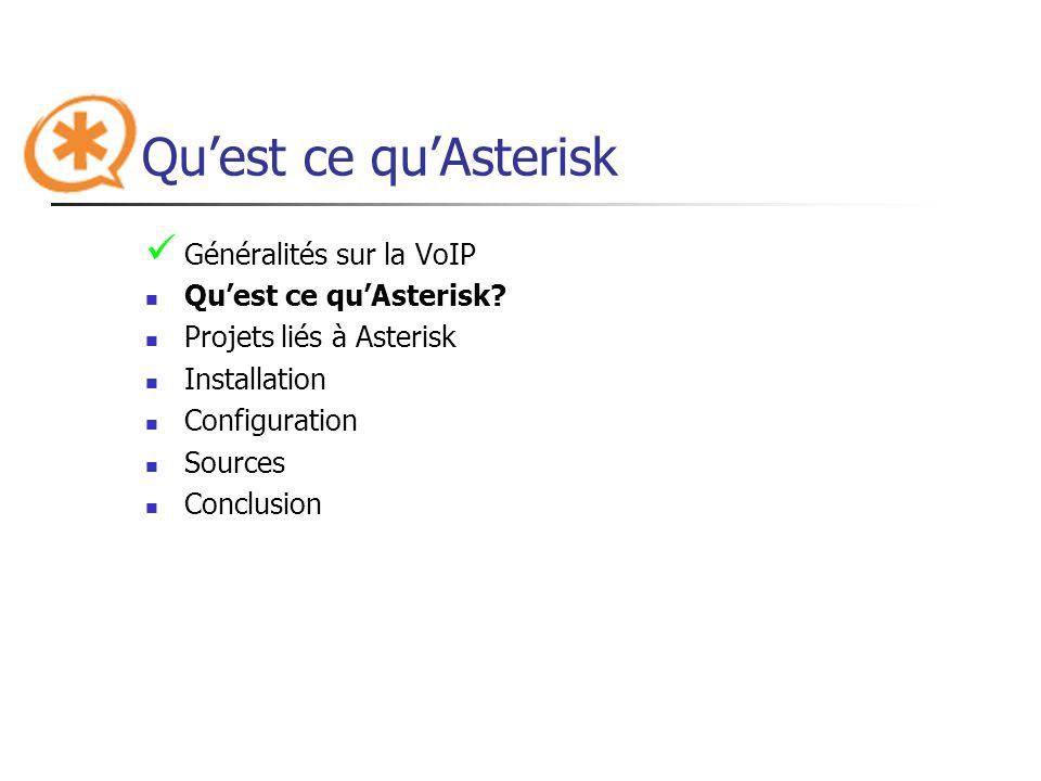 Quest ce quAsterisk Généralités sur la VoIP Quest ce quAsterisk? Projets liés à Asterisk Installation Configuration Sources Conclusion