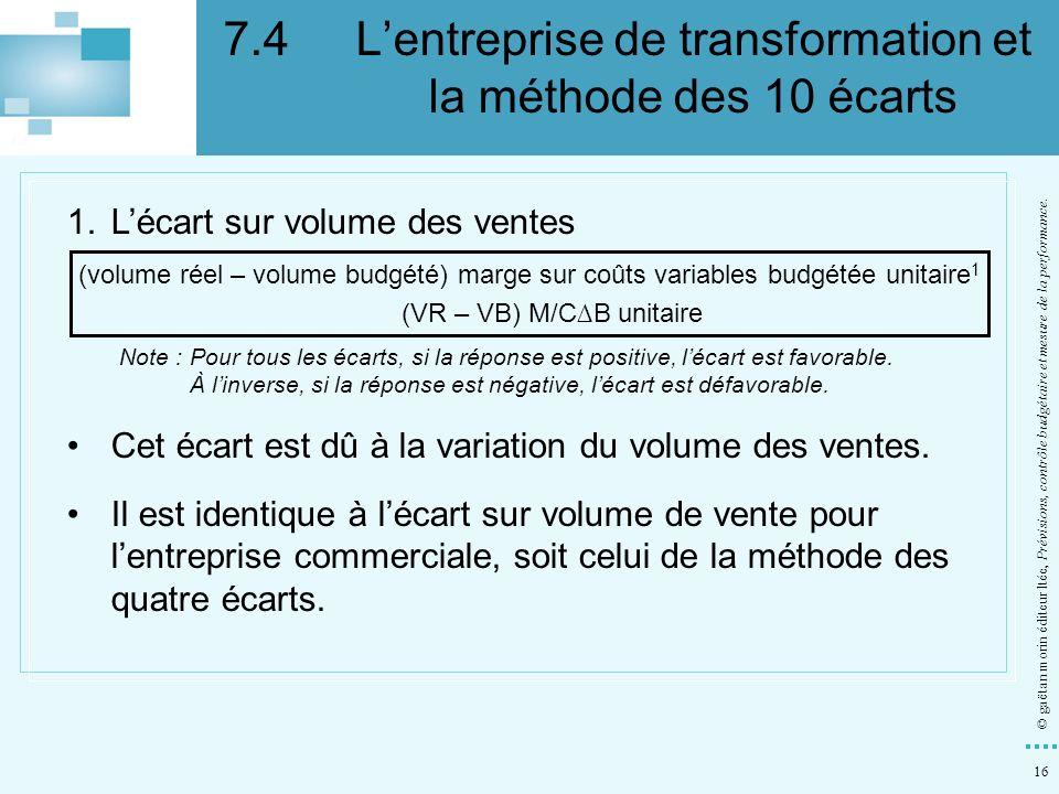 16 © gaëtan morin éditeur ltée, Prévisions, contrôle budgétaire et mesure de la performance. 1.Lécart sur volume des ventes (volume réel – volume budg