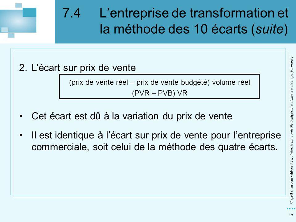 17 © gaëtan morin éditeur ltée, Prévisions, contrôle budgétaire et mesure de la performance. 2.Lécart sur prix de vente (prix de vente réel – prix de