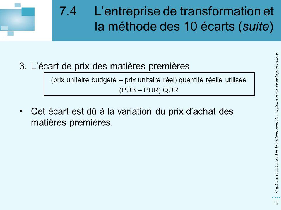 18 © gaëtan morin éditeur ltée, Prévisions, contrôle budgétaire et mesure de la performance. 3.Lécart de prix des matières premières (prix unitaire bu