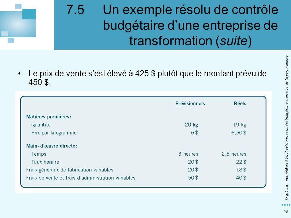 28 © gaëtan morin éditeur ltée, Prévisions, contrôle budgétaire et mesure de la performance. Le prix de vente sest élevé à 425 $ plutôt que le montant