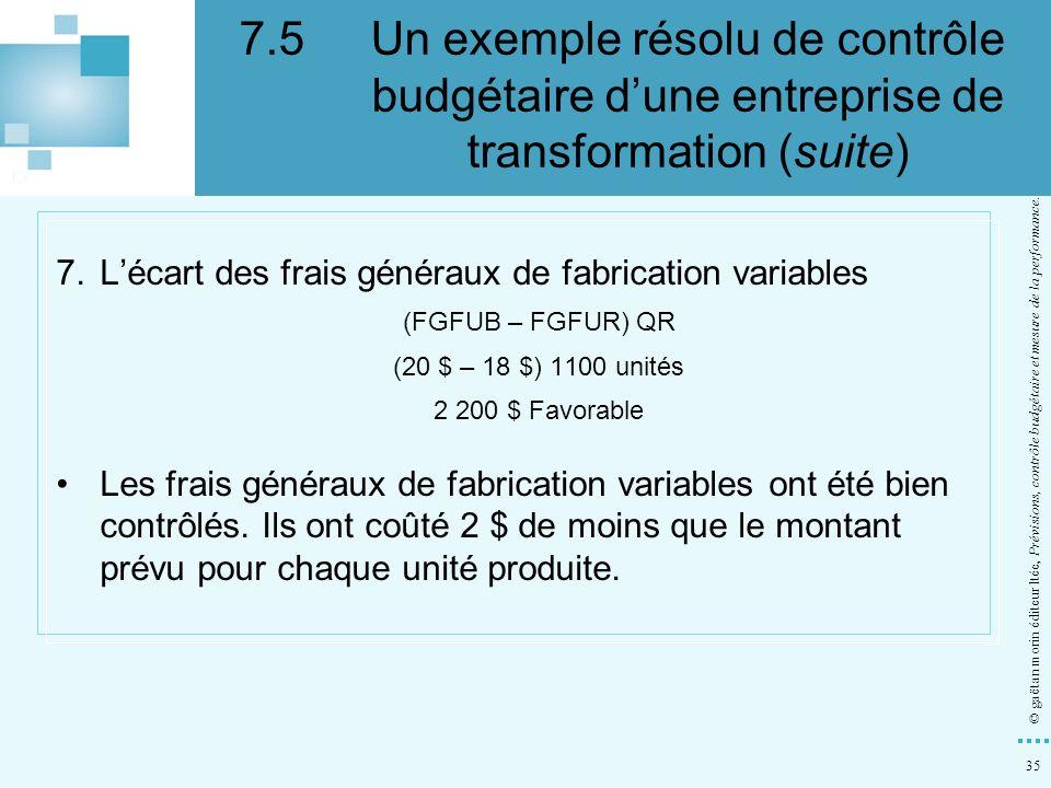 35 © gaëtan morin éditeur ltée, Prévisions, contrôle budgétaire et mesure de la performance. 7.Lécart des frais généraux de fabrication variables (FGF