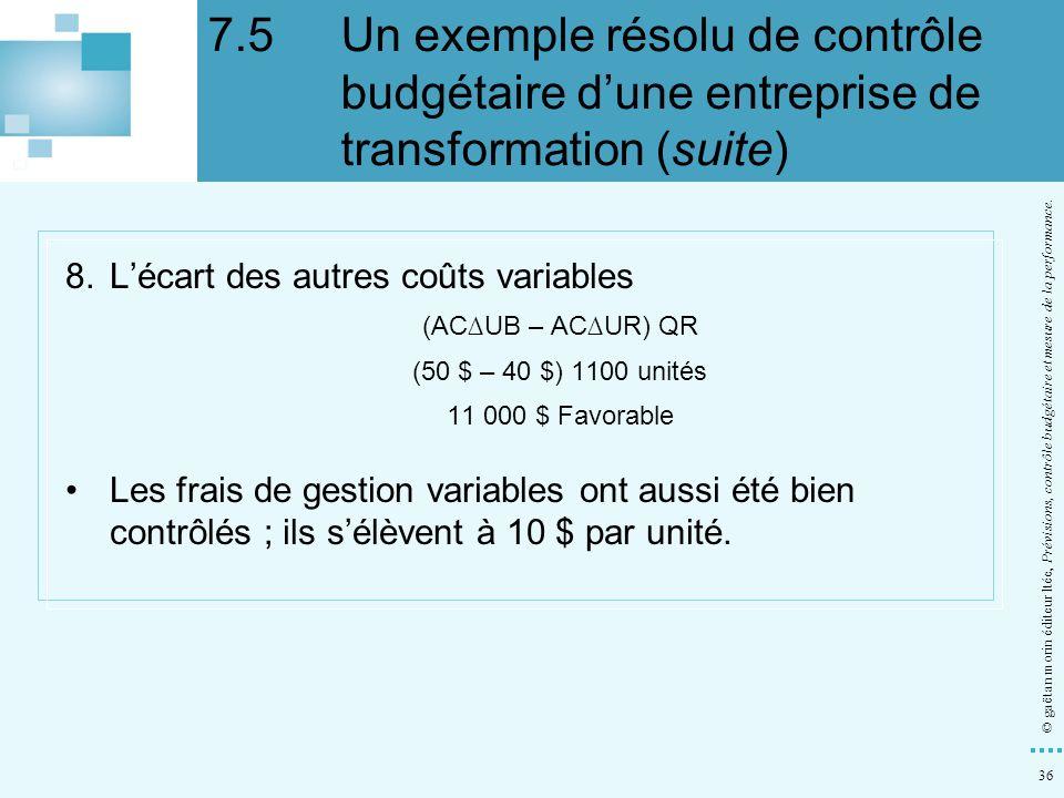 36 © gaëtan morin éditeur ltée, Prévisions, contrôle budgétaire et mesure de la performance. 8.Lécart des autres coûts variables (ACUB – ACUR) QR (50