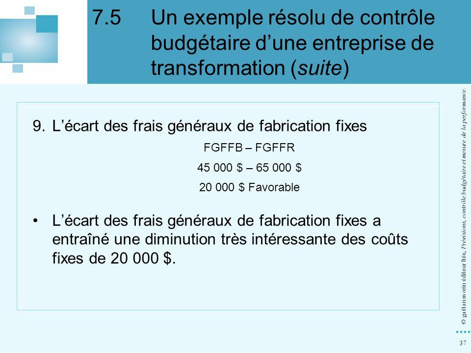 37 © gaëtan morin éditeur ltée, Prévisions, contrôle budgétaire et mesure de la performance. 9.Lécart des frais généraux de fabrication fixes FGFFB –