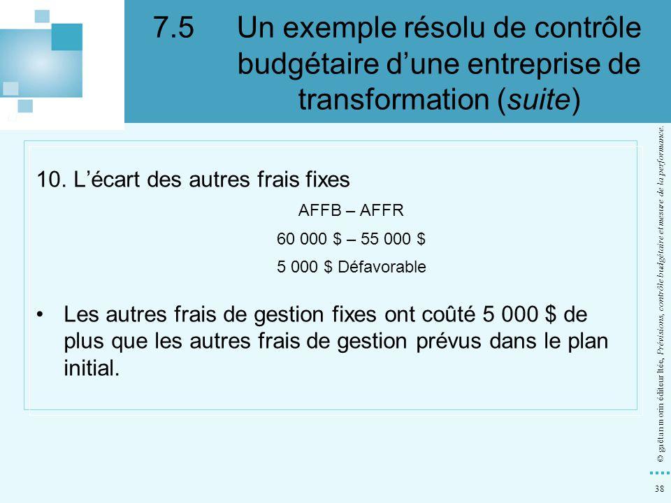 38 © gaëtan morin éditeur ltée, Prévisions, contrôle budgétaire et mesure de la performance. 10. Lécart des autres frais fixes AFFB – AFFR 60 000 $ –