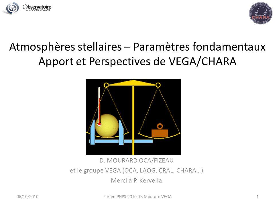 Atmosphères stellaires – Paramètres fondamentaux Apport et Perspectives de VEGA/CHARA D.