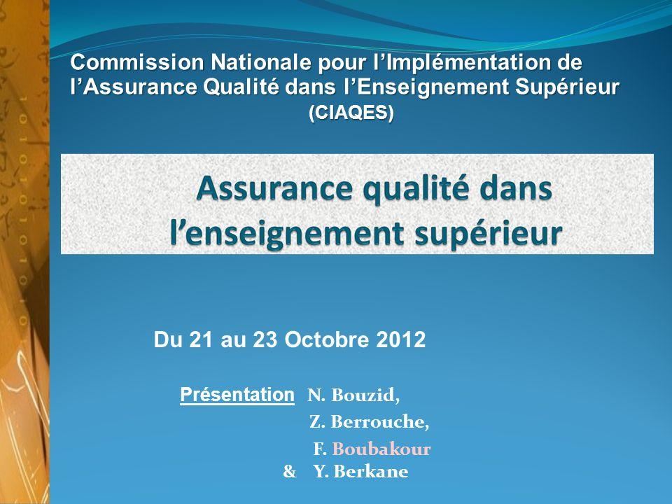 Commission Nationale pour lImplémentation de lAssurance Qualité dans lEnseignement Supérieur (CIAQES) (CIAQES) Du 21 au 23 Octobre 2012 Présentation N.