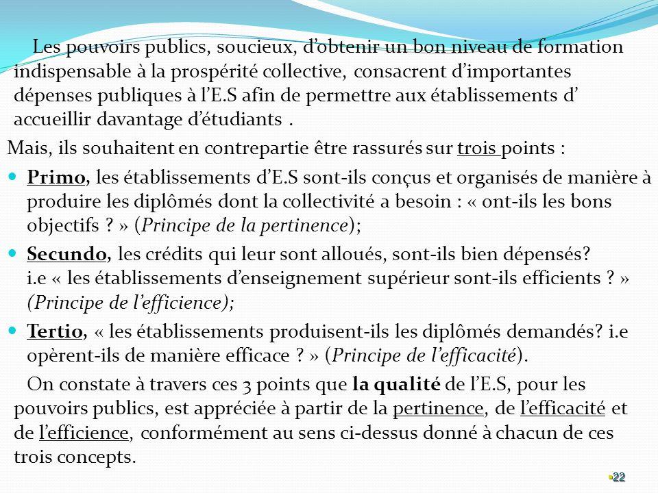 22 Les pouvoirs publics, soucieux, dobtenir un bon niveau de formation indispensable à la prospérité collective, consacrent dimportantes dépenses publiques à lE.S afin de permettre aux établissements d accueillir davantage détudiants.