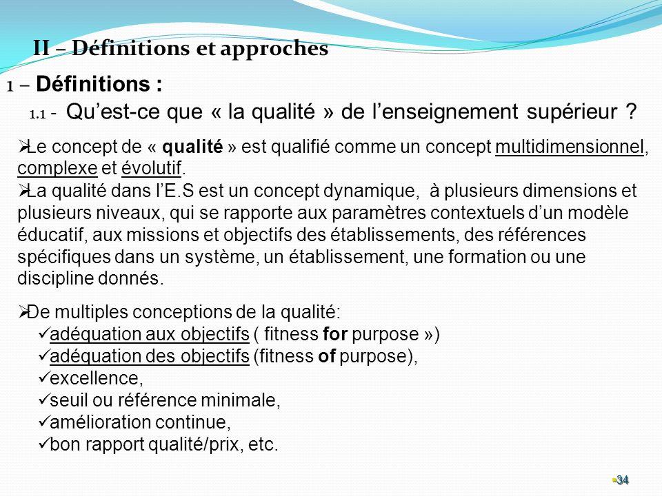 34 34 34 II – Définitions et approches 1 – Définitions : 1.1 - Quest-ce que « la qualité » de lenseignement supérieur .