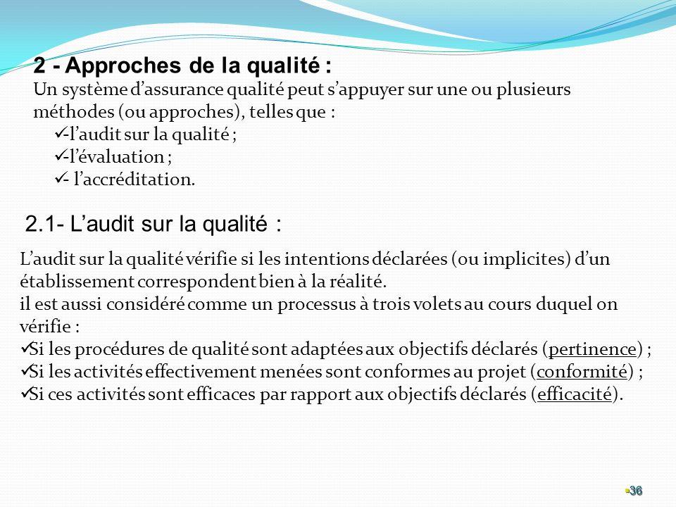 36 36 36 2 - Approches de la qualité : Un système dassurance qualité peut sappuyer sur une ou plusieurs méthodes (ou approches), telles que : -laudit sur la qualité ; -lévaluation ; - laccréditation.