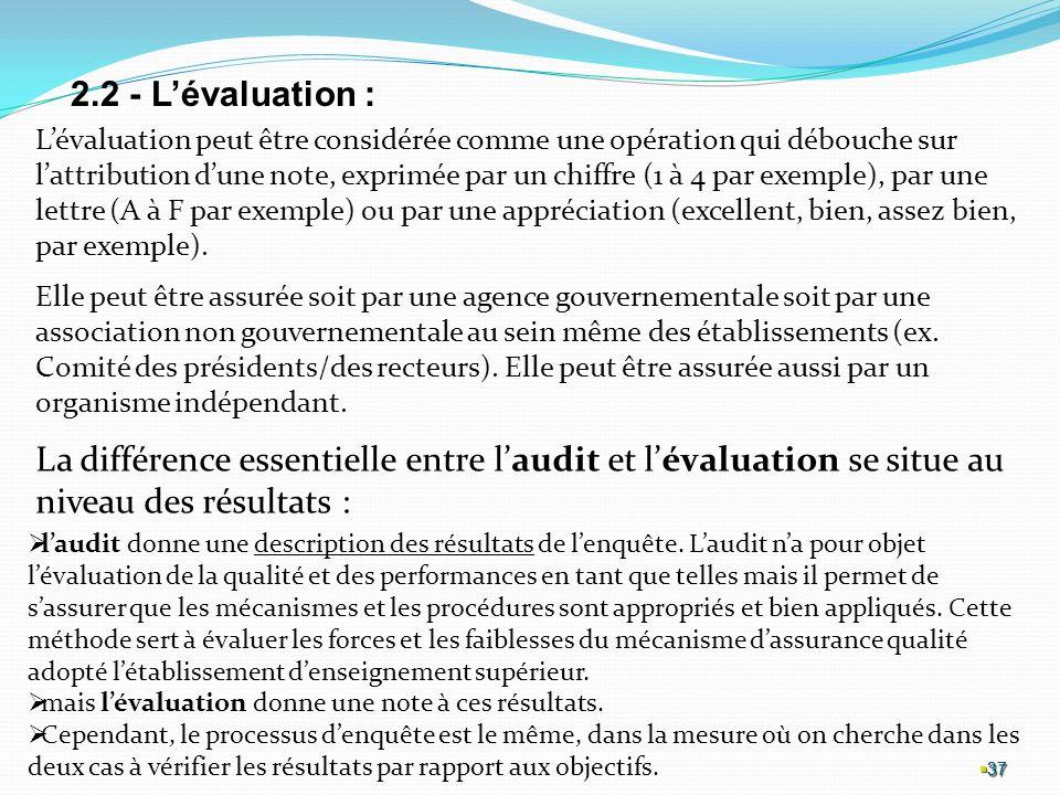 37 37 37 2.2 - Lévaluation : Lévaluation peut être considérée comme une opération qui débouche sur lattribution dune note, exprimée par un chiffre (1 à 4 par exemple), par une lettre (A à F par exemple) ou par une appréciation (excellent, bien, assez bien, par exemple).