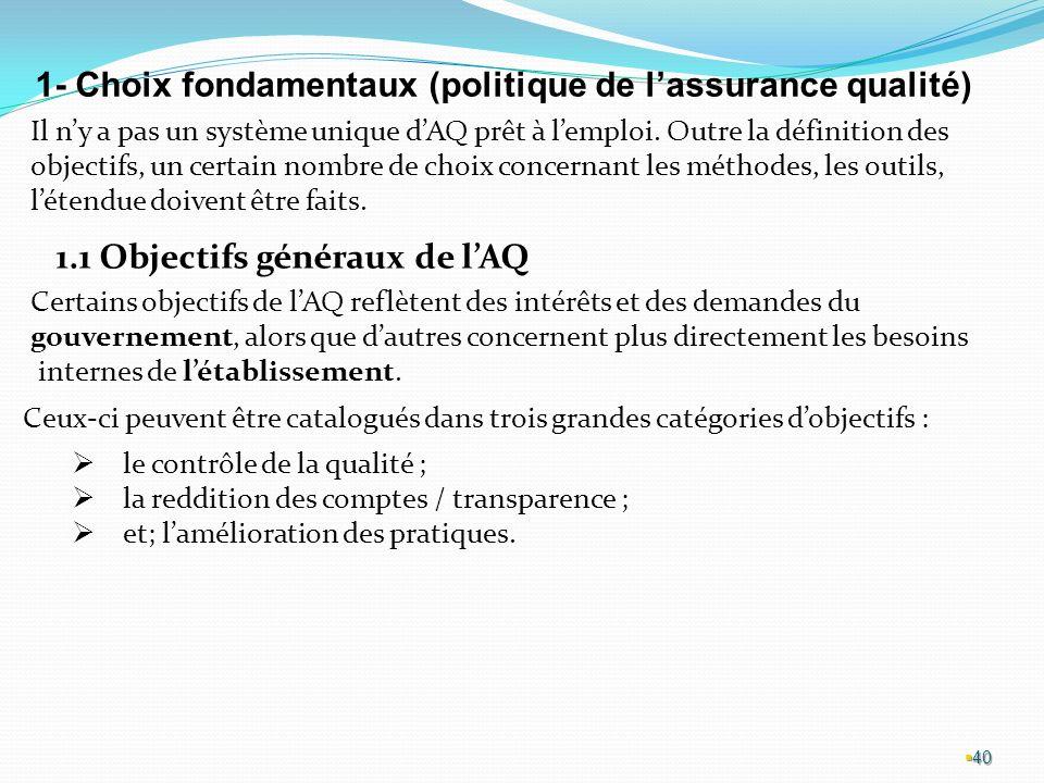 40 1- Choix fondamentaux (politique de lassurance qualité) Il ny a pas un système unique dAQ prêt à lemploi.