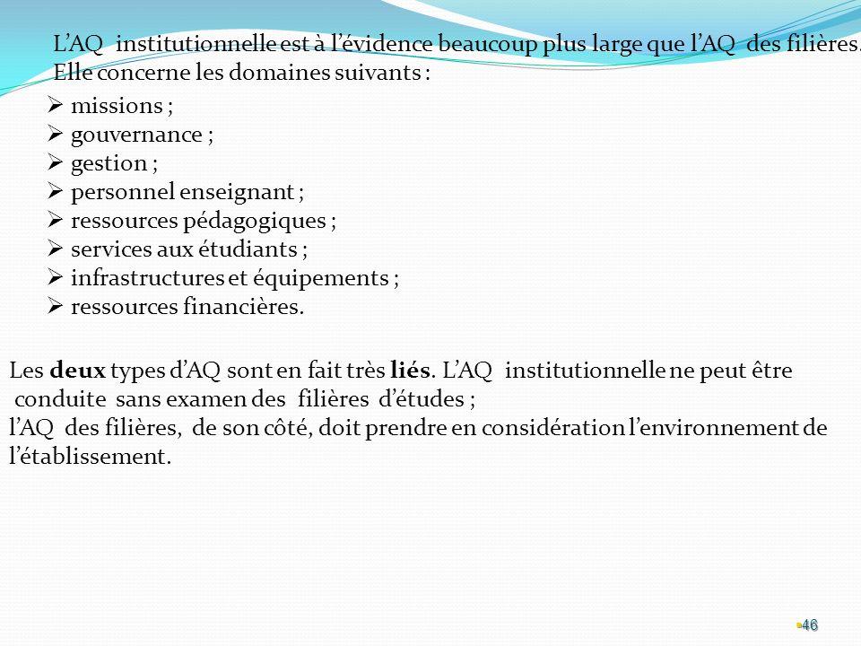 46 LAQ institutionnelle est à lévidence beaucoup plus large que lAQ des filières.